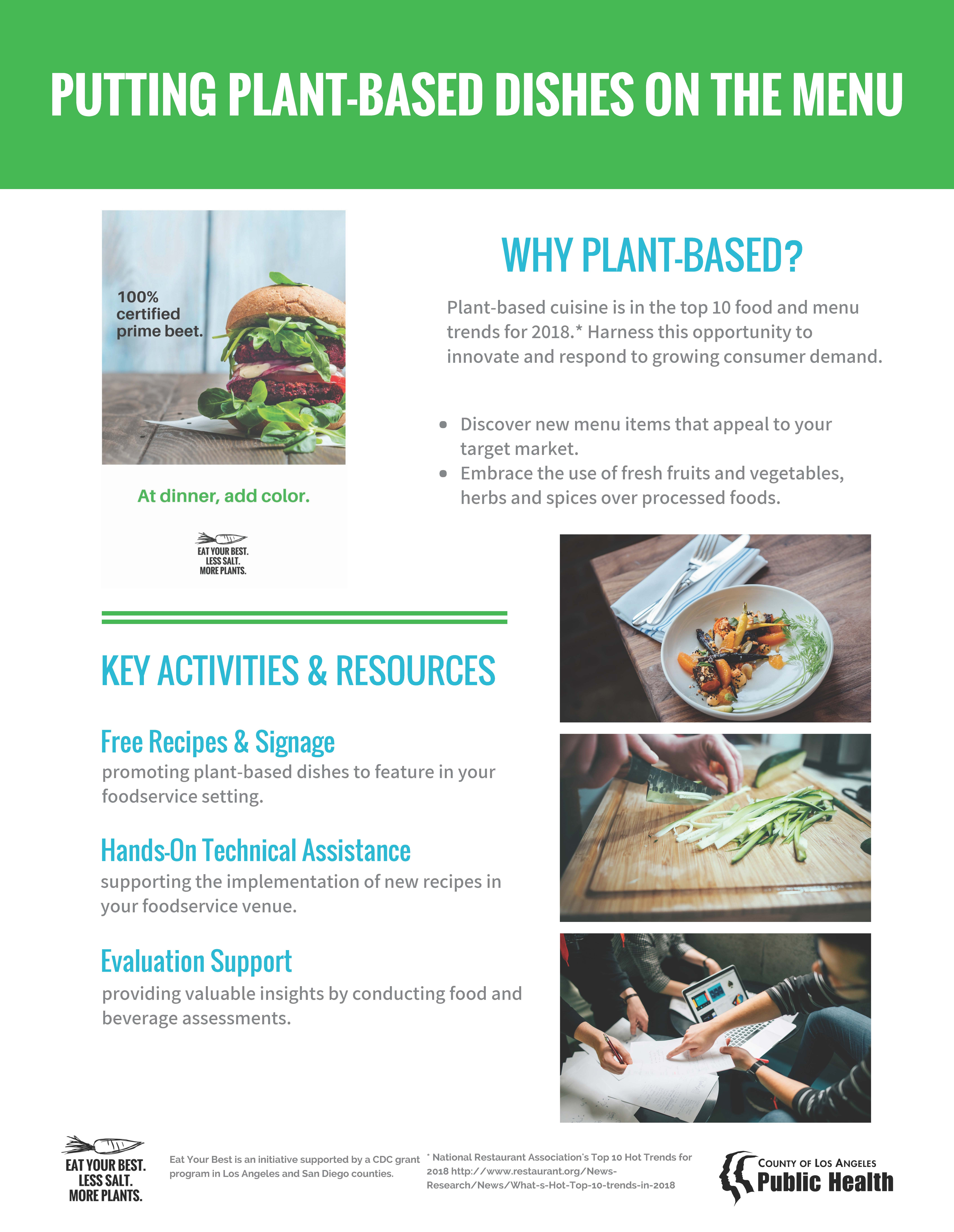 Info sheet titled Putting Plant-Based Dishes on the Menu